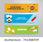 vector comic banners. color... | Shutterstock .eps vector #741588559