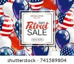memorial day sale promotion... | Shutterstock . vector #741589804