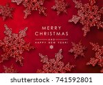 christmas background with ... | Shutterstock .eps vector #741592801