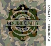 genuine quality on camouflaged... | Shutterstock .eps vector #741595309