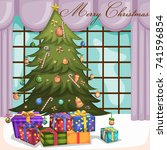 vector design of decorated tree ... | Shutterstock .eps vector #741596854