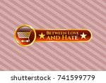 gold badge or emblem with... | Shutterstock .eps vector #741599779