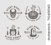 vintage retro halloween logos ...   Shutterstock .eps vector #741600565