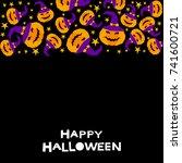 happy halloween card template.... | Shutterstock .eps vector #741600721