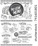 mexican menu for restaurant and ... | Shutterstock .eps vector #741601801