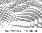 Three-dimensional design from white blocks - stock photo