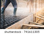 concrete pouring during... | Shutterstock . vector #741611305