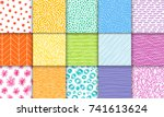abstract hand drawn geometric... | Shutterstock .eps vector #741613624
