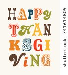 retro happy thanksgiving... | Shutterstock .eps vector #741614809