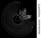 turbo jet engine aircraft.... | Shutterstock .eps vector #741614971
