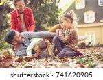 fall leaves is great for family ... | Shutterstock . vector #741620905