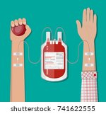 blood bag at holder and hand of ... | Shutterstock .eps vector #741622555