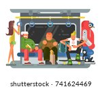 subway with people man and... | Shutterstock .eps vector #741624469