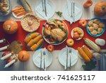 happy thanksgiving day  autumn... | Shutterstock . vector #741625117