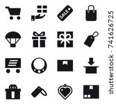 16 vector icon set   cart  gift ... | Shutterstock .eps vector #741626725