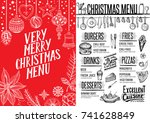 christmas food menu for... | Shutterstock .eps vector #741628849
