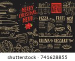 christmas food menu for... | Shutterstock .eps vector #741628855