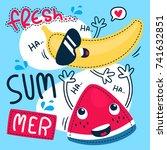 cute cartoon watermelon and... | Shutterstock .eps vector #741632851