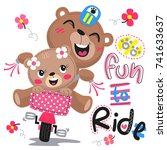 happy cartoon cute bears riding ... | Shutterstock .eps vector #741633637