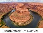 horseshoe bend  colorado river. ... | Shutterstock . vector #741634921