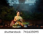 loy krathong day is  important... | Shutterstock . vector #741635095