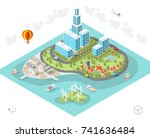 isometric high quality city... | Shutterstock .eps vector #741636484