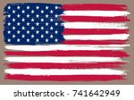 grunge usa flag. vector... | Shutterstock .eps vector #741642949