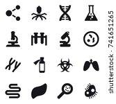 16 vector icon set   molecule ...   Shutterstock .eps vector #741651265