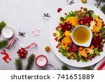 christmas wreath salad with... | Shutterstock . vector #741651889