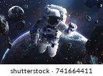 picture of astronaut... | Shutterstock . vector #741664411