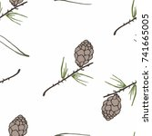 hand drawn seamless pattern... | Shutterstock .eps vector #741665005