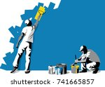 Vector Illustration Of Workers  ...