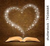 open old book. a star  heart... | Shutterstock . vector #74166664