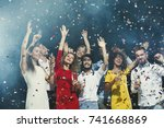 party time  happy young people... | Shutterstock . vector #741668869