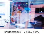 young people testing and... | Shutterstock . vector #741674197