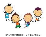 best friends happy boys vector | Shutterstock .eps vector #74167582