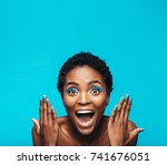 excited young woman with... | Shutterstock . vector #741676051