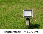 close up outdoor led lamp on... | Shutterstock . vector #741677695