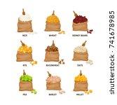 set of grain crops in bags ... | Shutterstock .eps vector #741678985