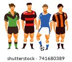 group of isolated men in... | Shutterstock .eps vector #741680389