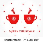 two christmas cups with coffee...   Shutterstock .eps vector #741681109