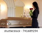 people and mourning concept  ... | Shutterstock . vector #741689254