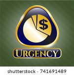 golden emblem with chart icon... | Shutterstock .eps vector #741691489