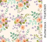 flowery bright pattern in cute... | Shutterstock .eps vector #741692605