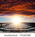 railway to heaven - stock photo