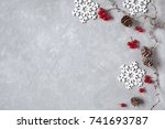 christmas background with...   Shutterstock . vector #741693787