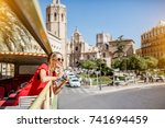 young happy woman tourist in... | Shutterstock . vector #741694459