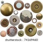 metal jeans buttons  rivets set.... | Shutterstock . vector #74169460