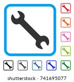 wrench icon. flat grey...