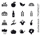 16 vector icon set   bio ... | Shutterstock .eps vector #741696127